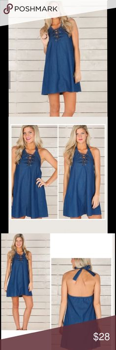 """Marked Down! Denim Halter Dress!! Price Final!! NWOT!! Never Worn! Quaintly cute and full of life this Shift dress features halter style top with a tie at the neck, lace up neckline, and an elastic band across the back. Unlined. 100% Cotton. FIT: This garment fits true to size! LENGTH: Dress hits mid-thigh! Medium measures 33"""". BUST: Fits 36"""". WAIST: Slightly loose fit at waist (I'm a 27""""-28"""" waist and Its  loose fit at hips leaving lots of room!)  I'm not as tall as the model so I took pics…"""