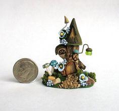Handmade Miniature WHIMSY WOODLAND FAIRY TREE TRUNK HOUSE - OOAK art by C. Rohal