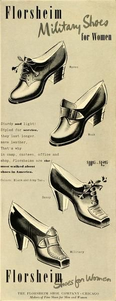 1942 Ad Florsheim Military Shoes Women Fashion World War II Heels Laces LF5…
