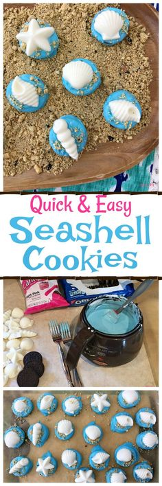 Quick and easy seashell cookies for a beach party! Fun Moana party themed shell oreos party food recipe.