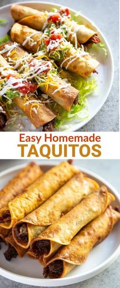 Crispy Homemade Taquitos (also called Rolled Tacos) made with seasoned shredded beef corn tortillas all of the best toppings. They can be baked or fried and are sure to be your new favorite recipe! Authentic Mexican Recipes, Italian Recipes, Mexican Food Recipes, Beef Recipes, Dinner Recipes, Cooking Recipes, Ethnic Recipes, Mexican Desserts, Cooking Tips