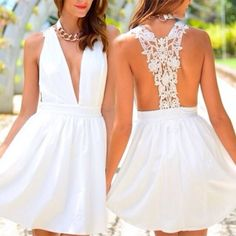Chic Plunging Neck Lace Spliced Backless White Dress For Women