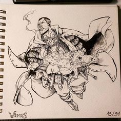 diskworld, vimes, drawed, male chars, dragon, smoking, brutal
