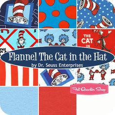 Flannel The Cat In The Hat Fat Quarter Bundle Dr. Seuss Enterprises for Robert Kaufman Fabrics