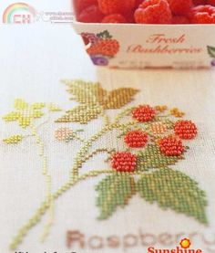 Cross-stitch w beads for a nice dimensional effect.  Raspberries on the branch.