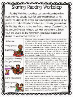 Reading in the Wild: Reading Workshop Schedule