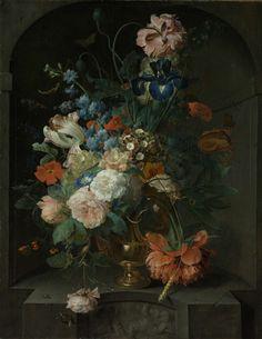 Coenraet Roepel | Still Life with Flowers, Coenraet Roepel, 1721 | Stilleven met bloemen. Een boeket bloemen in een metalen vaas staande in een nis. In het boeket zitten rozen, irissen, papavers, een tarwehalm, tulpen en ander bloemen. Tussen de bloemen en over de nis kruipen een slak, een rups en een kever. Pendant van SK-A-337.