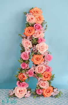 Flower rose letter at a Pretty Pink Birthday #pink #birthday