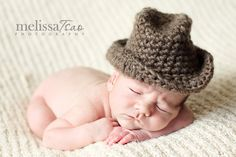 Baby cowboy hat can be molded into fedora or bucket style --- versatile photography prop. $23.00, via Etsy.