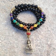Necklaces - 108 Bead Mala, Multicolor Gemstone Chakra Convertible Necklace With Buddha Pendant Chakra Necklace, Chakra Jewelry, Beaded Jewelry, Beaded Necklace, Beaded Bracelets, Gemstone Jewelry, Jewelry Insurance, Estilo Boho, Gemstones