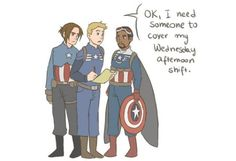 Bucky!Cap, CommanderRogers!Cap, and Falcon!Cap work out their Captain America schedules.