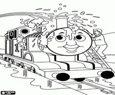 The cleanup of Thomas the locomotive coloring page