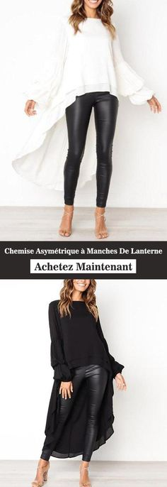 Asymmetrical Shirt with Lantern Sleeves - Tango Dress, Diy Fashion, Womens Fashion, Blouse Styles, Plus Size Tops, Maternity Dresses, Chic Outfits, Plus Size Fashion, Couture