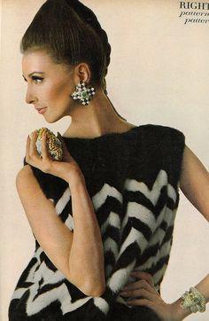 Wilhelmina is wearing a herringbone-mink pull by Saga and jewels by David Webb, photo by Bert Stern for Vogue 1966