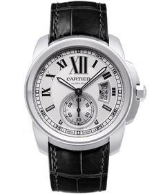 Calibre De Cartier Silver Dial Leather Strap Mens Watch W7100037