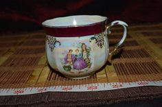 """Vintage Courting Couple Royal Crown Lustreware Cup Japan 3 7/8""""x2 1/2"""" #Victorian #RoyalCrown"""