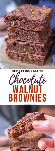 Fudgy Cacao Walnut Brownies are a perfect chocolaty treat loaded with SUPERFOODS. These walnut brownies are super HEALTHY and completely guilt-free. Best walnut brownie recipe EVER! Köstliche Desserts, Best Dessert Recipes, Chocolate Desserts, Healthy Desserts, Delicious Desserts, Bar Recipes, Chocolate Lovers, Recipes Dinner, Potato Recipes