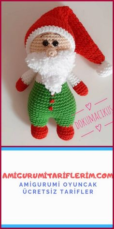 As the new year approaches, we share a wonderful amigurumi Santa Claus free crochet pattern that you can give to your children. I think you can learn easily. Crochet Gratis, Crochet Patterns Amigurumi, Amigurumi Doll, Free Crochet, Amigurumi For Beginners, Animal Sewing Patterns, Amigurumi Tutorial, Knitted Dolls, Soft Dolls