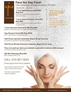 Spa Specials #spaspecials #specials #skincare #beauty #spa @spaspringridge  Northbrook, IL 847-393-4770 Wyomissing, PA 610-927-3223