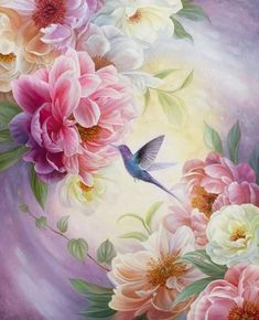 Tiger Painting, Peony Painting, Acrylic Painting Canvas, Canvas Art, Painting Art, Bird Artwork, Floral Artwork, Floral Paintings, Night Sky Painting