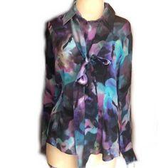 Escada Blue And Purple Watercolor Silk Blouse with detachable | Etsy