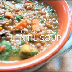 A healthy and delicious vegan instant pot brown lentil soup with veggies. Amazin… A healthy and delicious vegan instant pot brown lentil soup with veggies. Amazingly easy to make in the Pressure Cooker and perfect for a cold day! Lentil Soup Pressure Cooker, Instant Pot Pressure Cooker, Pressure Cooker Recipes, Pressure Cooking, Slow Cooker, Lentil Soup Recipes, Vegetarian Recipes, Cooking Recipes, Healthy Recipes
