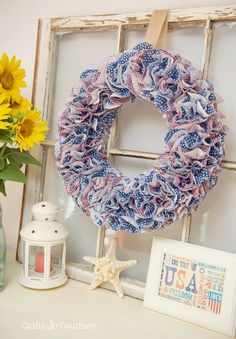 Patriotic Cupcake Liner Wreath for July 4th