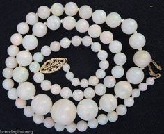 Antique Vintage Opal Necklace Flash Fire White Opal Beads 14k Gold Clasp (#5265) #antiquevintage #necklace