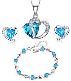 Kette Silber Sterling 925 versilbert Stein blau schick Geschenk Anhänger
