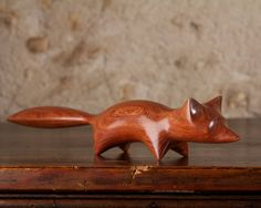 Fox Sculpture Hand Carved From Pau Rosa Wood by Perry Lancaster, Original Carving Fox Design Figurine