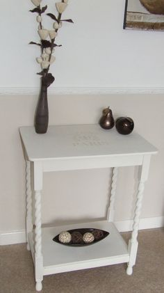Hall Table - Shabby Chic Style  Painted in an Annie Sloan Original White with an Old Ochre 'Paris' stencil