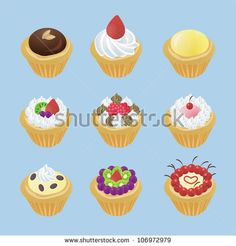 Cute egg tarts dessert with 9 different look and fruit strawberry chocolate topping icon set in isolated background, design by vector