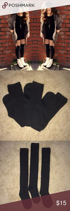 SALE{three pair} NWOT thigh high black socks A classic!! THREE pairs of solid black thigh high socks.  BRAND NEW.  Only one pair tried on once in the house. First pic is just an example of how they look  Will sell separately upon request!! Accessories Hosiery & Socks