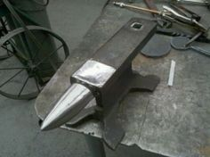 Railroad Track Anvil - Homemade anvil fashioned from a railroad track section. Horn was heat-treated and annealed.