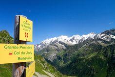Col de la Fenêtre - signpost and Mont Blanc.