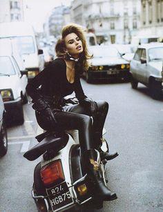 Niki Taylor is biker-chic for Vogue UK, 1992.