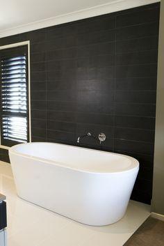 room idea - main bathroom, new tub, against tiled feature wall