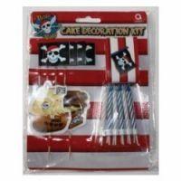 Even Pirates love cakes! Pirate Party cake deco kit.  Cake picks, cake wrap, candles