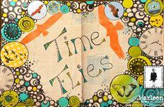 Marleen van Meerendonk made this soaring art journal spread using the Osprey Wings and Simple Geo Circles stencils.