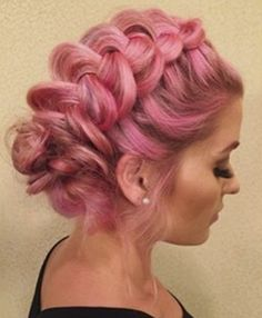 @montana_ferrin is the epitome of #elegance with soft #pinkhair and a #beautiful #braidedupdo. This look is so #lovely, we could even see it being #wedding -appropriate for a #creative and #colorful #bride. This #southernbelle mixed #manicpanic's #semipermanent #hothotpink with #pastelizer and applied to #blonde hair for these #stunning results.