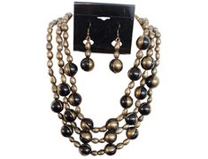 IVETH Black Wax Cord with Rectangular Horn with Round Donut Pendant Necklace Set