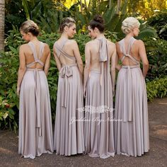 Beautiful backs of our Goddess By Nature signature ballgowns in the stunning blush pearl colour - just breathtaking! Which one do you like best?  Our award winning popular multifunctional dress worn and styled different ways are perfect for bridal parties or formal special occasions designed & made in Australia with our special signature luxe fabric! #wedding #bridesmaids #multiway #dresses