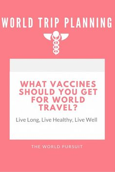 Immunization recommendations for world travel