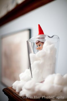 Elf on a Shelf - Confusing cotton balls for snow