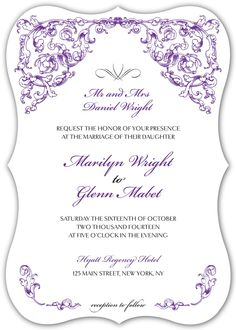 Wedding Invitations - antique scroll