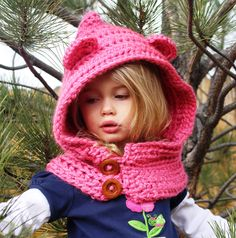 Fashionable hooded cowl, available in toddler, child and adult sizes- https://www.etsy.com/listing/234167757/hooded-cowl-girls-cowl-crochet-cowl