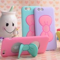 Wish | Candy Color 3D Cartoon Bow Stand Mobile Phone Case Cover For Samsung Galaxy S5 S6 S6 Edge Note 3 Note 4 A7 For iPhone 4 4S 5 5S 6 4.7 / 6S For iPhone 6 Plus 5.5 inch / 6S Plus For XiaoMi Mi 3 Mi4 RedMi Note
