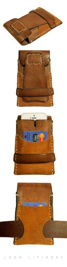 Such a rustic vibe to this! // Leather & Suede iPhone 5 Case by Leon Litinsky. Iphone Leather Case, Leather Wallet, Leather Bag, Crea Cuir, Support Telephone, Leather Pieces, Leather Projects, Leather Accessories, Leather Tooling