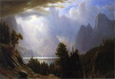 Landscape: by Albert Bierstadt (Columbus Museum of Art,Ohio) - Hudson River School Landscape Art, Landscape Paintings, Oil Paintings, Albert Bierstadt Paintings, Hudson River School Paintings, Gustave Dore, California National Parks, Yosemite Valley, Traditional Landscape