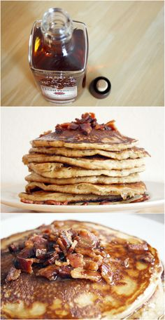 BOURBON BACON PANCAKES Yes, you heard that right. Also known as the most amazing pancakes ever to grace your table. Pancakes And Bacon, Breakfast Pancakes, What's For Breakfast, Waffles, Bacon Pancake, Pancake Toppings, Pancake Bites, Birthday Breakfast, Potato Pancakes